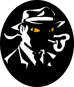 Fantasy noir logo (A silhouetted noir man smoking, with just a trace of not-human about him.) Copyright J. Murphy.